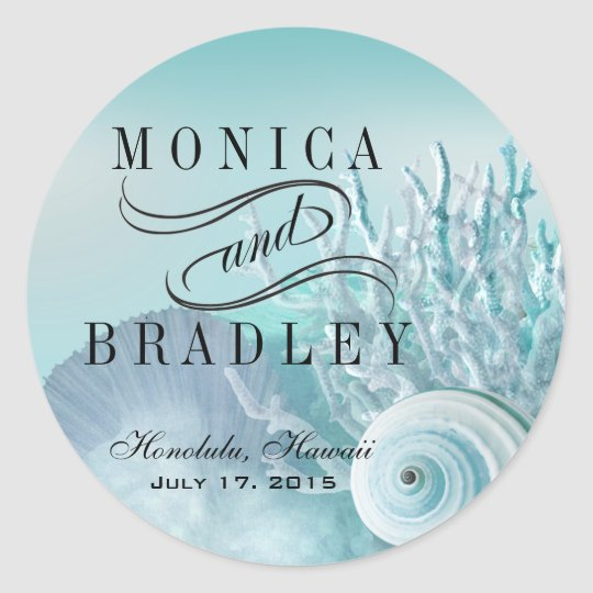 Seashell Dreams Beach Wedding aqua Classic Round Sticker