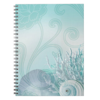 Seashell Dreams Beach Wedding aqua Notebook
