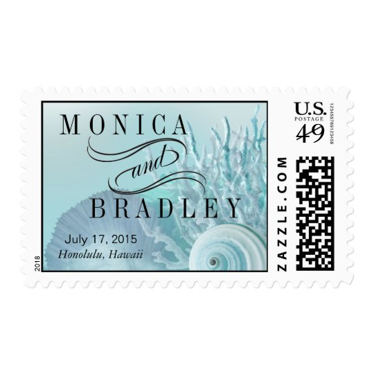Seashell Dreams Beach Wedding aqua Postage