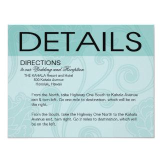 Seashell Dreams Beach Wedding Directions aqua Card