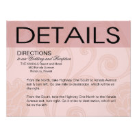 Seashell Dreams Beach Wedding Directions pink Custom Announcement