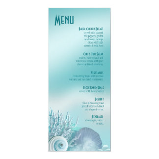Seashell Dreams Beach Wedding Menu aqua Card