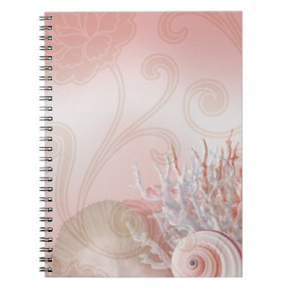 Seashell Dreams Beach Wedding pink Spiral Notebook