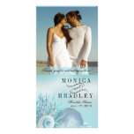 Seashell Dreams Beach Wedding Thank You aqua Photo Card