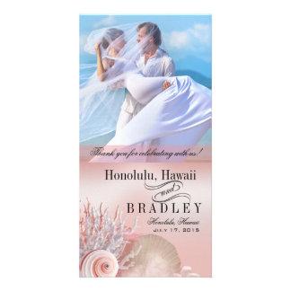 Seashell Dreams Beach Wedding Thank You pink Card