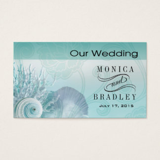 Seashell Dreams Beach Wedding Website aqua Business Card