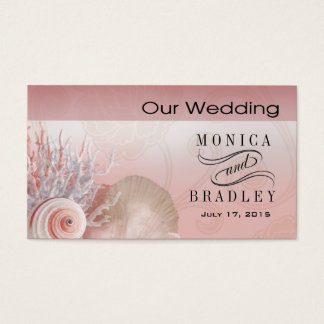 Seashell Dreams Beach Wedding Website pink Business Card