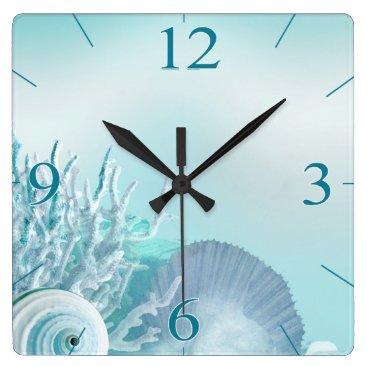Beach Themed Seashell Dreams Tropical Beach | aqua Square Wall Clock