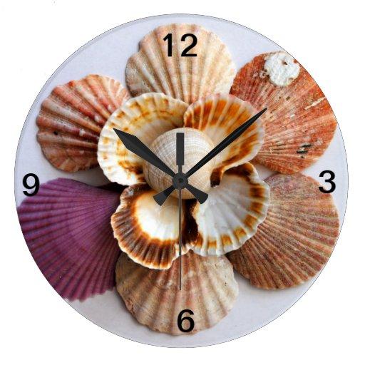 Seashell flower clock zazzle for Seashell clock