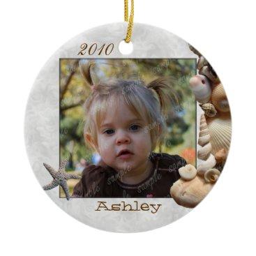 Christmas Themed Seashell Frame Photo Ornament