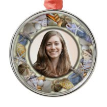 Seashell Frame, Round Picture Christmas Ornament