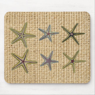 seashell french country burlap beach chic starfish mouse pad