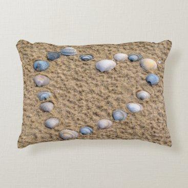 Beach Themed Seashell heart accent pillow