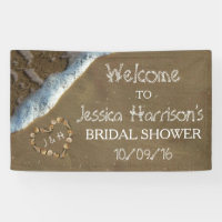 Seashell Heart Beach Bridal Shower Banner