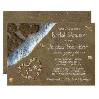 Seashell Heart Beach Bridal Shower Invitations