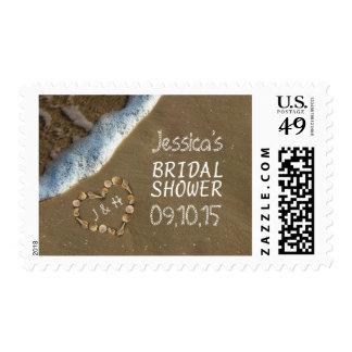 Seashell Heart Beach Bridal Shower Postage