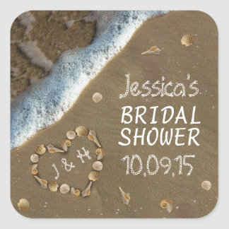 Seashell Heart Beach Bridal Shower Stickers