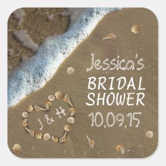 Seashell Heart Beach Bridal Shower Stickers