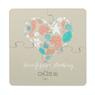 seashell heart beach wedding puzzle coaster