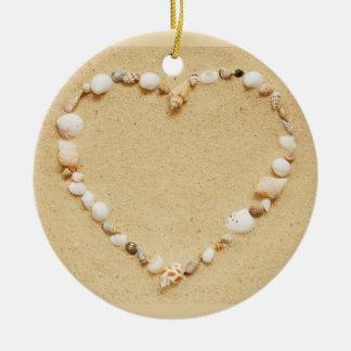 Seashell Heart Ceramic Ornament