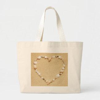 Seashell Heart Large Tote Bag