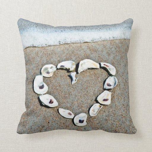 Seashell Heart on the Beach Throw Pillow