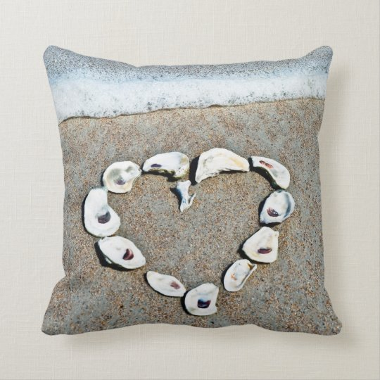 Seashell Heart on the Beach Throw Pillow