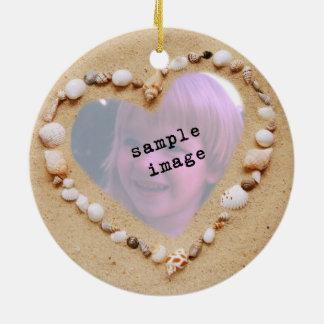 Seashell Heart Photo Template Christmas Tree Ornaments