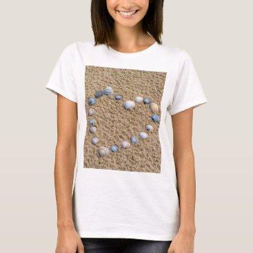 Beach Themed Seashell heart T-Shirt