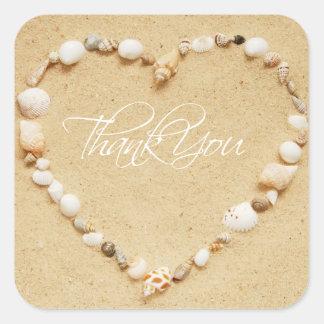Seashell Heart Thank You Square Sticker