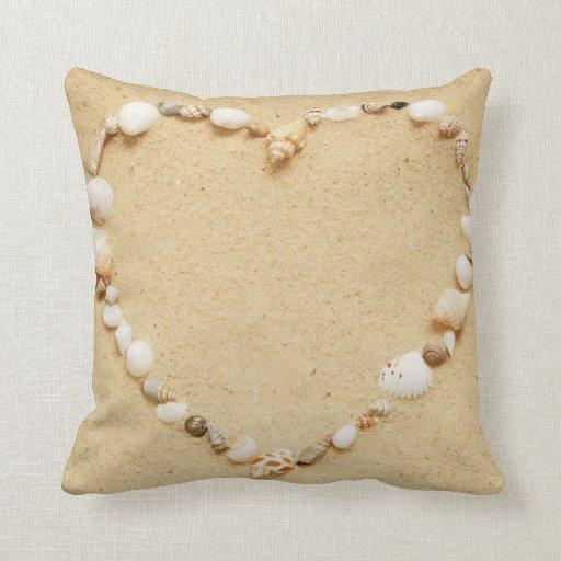 Seashell Heart Throw Pillow