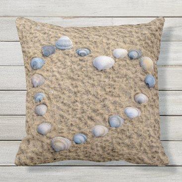 Beach Themed Seashell heart throw pillow