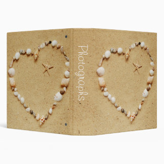 "Seashell Heart with Starfish 1.5"" Photo Album 3 Ring Binder"