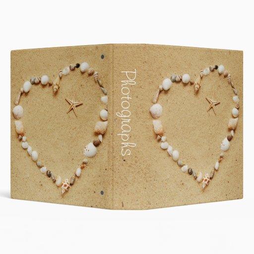 """Seashell Heart with Starfish 1.5"""" Photo Album 3 Ring Binder"""