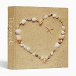 """Seashell Heart with Starfish 1"""" Photo Album 3 Ring Binder"""