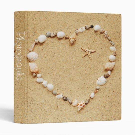 """Seashell Heart with Starfish 1"""" Photo Album Binder"""