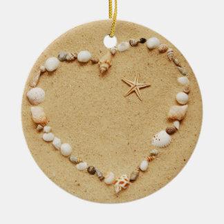 Seashell Heart with Starfish Ceramic Ornament
