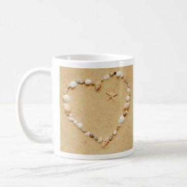 Valentines Themed Seashell Heart with Starfish Coffee Mug