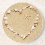 Seashell Heart with Starfish Drink Coaster