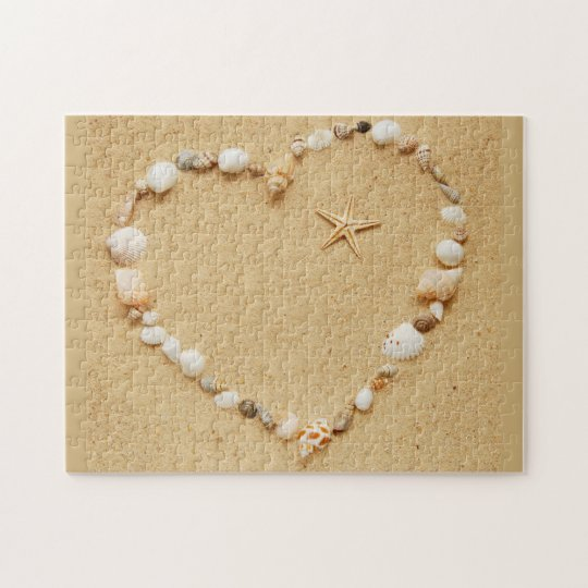 Seashell Heart with Starfish Jigsaw Puzzle