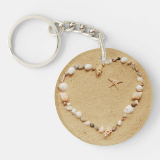 Seashell Heart with Starfish Keychain