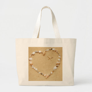 Seashell Heart with Starfish Large Tote Bag