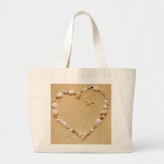 Seashell Heart with Starfish Large Tote Bag