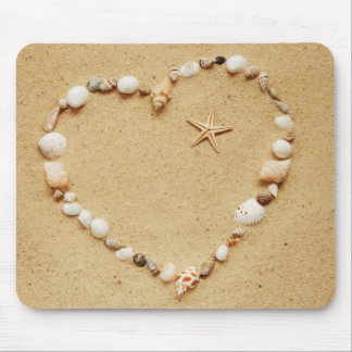 Seashell Heart with Starfish Mouse Pad
