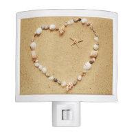 Seashell Heart with Starfish Nite Lights