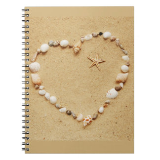 Seashell Heart with Starfish Notebook