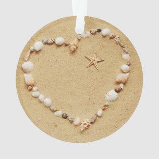 Seashell Heart with Starfish Ornament