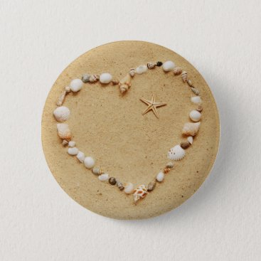 Valentines Themed Seashell Heart with Starfish Pinback Button