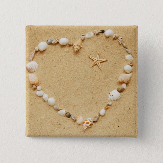 Seashell Heart with Starfish Pinback Button