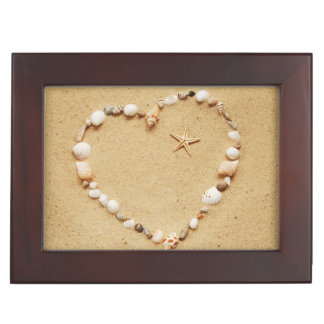 Seashell Heart with Starfish Keepsake Box